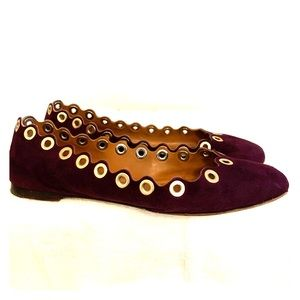 Chloe Plum Suede Ballet Flats with grommets